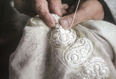 Embroidery in the silver thread Royalty Free Stock Photography