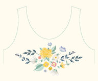 Embroidery simplified ethnic neck line floral pattern with roses. And other flowers. Vector symmetric traditional folk ornament with bouquet on beige background stock illustration