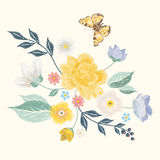 Embroidery simplified floral pattern with butterfly and flowers Royalty Free Stock Photography
