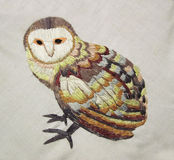 Embroidery stitch owl Stock Photo