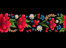 Embroidery stitches with flowers. Vector fashion embroidered ornament for textile, fabric decoration. Vector fashion embroidered ornament for textile, fabric royalty free illustration