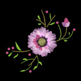 Embroidery stitches with gerbera and leave. S. Vector fashion ornament on black background for fabric Stock Images