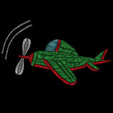Embroidery stitches imitation airplane. Vector embroidery traditional airplane on black background Stock Photography