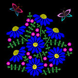 Embroidery stitches imitation with butterfly and colorful flower Stock Images