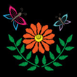 Embroidery stitches imitation with butterfly and orange flower Stock Photos