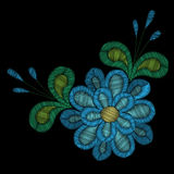 Embroidery stitches imitation ethnic floral pattern   Royalty Free Stock Photo