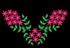 Embroidery stitches imitation ethnic floral pattern with brunch Royalty Free Stock Image