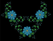 Embroidery stitches imitation ethnic floral pattern with flower Royalty Free Stock Image