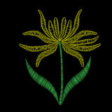 Embroidery stitches imitation ethnic floral pattern with yellow Royalty Free Stock Photos