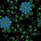 Embroidery stitches imitation ethnic floral seamless pattern   Stock Images