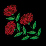 Embroidery stitches imitation red rose Royalty Free Stock Images