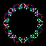 Embroidery stitches imitation round frame with butterfly  Stock Image