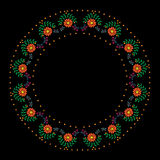 Embroidery stitches imitation round frame with orange flower. And dot and butterfly. Vector folk embroidery pattern on the black background for printing on Stock Photos