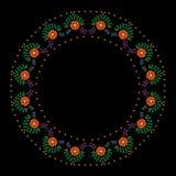 Embroidery stitches imitation round frame with orange flower  Stock Photos