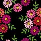 Embroidery stitches imitation seamless pattern with flower. Fashion embroidery flower on black background. Vector seamless floral print Stock Images