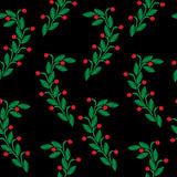 Embroidery stitches imitation seamless pattern with green leaf a Stock Photo