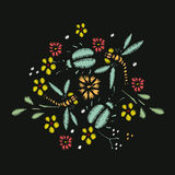 Embroidery Stitches With Meadow Flowers. Dragonflies, Beetles. Hand Drawn Vector Fashion Illustration On Black Background. For Fabric, Textile Decoration Royalty Free Stock Photo