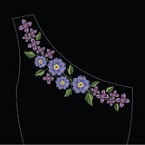 Embroidery stitches with primarose primula vulgaris and lilac fl Stock Photo
