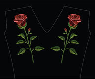 Embroidery stitches with red rose and green leaves in pastel col. Or. Vector fashion ornament on black background for traditional floral decoration. Pattern for Royalty Free Stock Photos