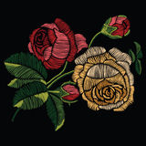 Embroidery stitches with red and yellow roses in pastel color. V Royalty Free Stock Image