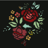 Embroidery Stitches With Roses, Meadow Flowers. Hand Drawn Vector Fashion Illustration On Black Background. For Fabric, Textile Decoration Royalty Free Stock Image
