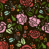 Embroidery Stitches With Roses, Meadow Flowers. vector illustration
