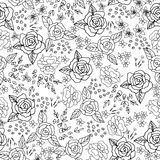 Embroidery Stitches With Roses, Meadow Flowers Monochrome. Embroidery Stitches With Roses, Meadow Flowers . Hand Drawn Vector Fashion Seamless Pattern On Black Royalty Free Stock Image