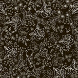 Embroidery Stitches With Roses, Meadow Flowers Monochrome. Embroidery Stitches With Roses, Meadow Flowers . Hand Drawn Vector Fashion Seamless Pattern On Black Royalty Free Stock Photography