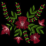 Embroidery stitches with spring rose flowers. Vector fashion ornament on black background for textile, fabric traditional folk fl. Oraldecoration royalty free illustration