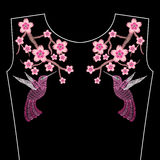 Embroidery stitches with spring Sakura flowers, branch of Japanese cherry blossoms with hummingbird. Neckline for fashion royalty free illustration