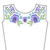 Embroidery stitches with spring violet flowers, indigo forget me Stock Photo