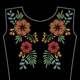 Embroidery stitches with spring wild flowers for neckline. Vecto. R fashion ornament on black background for textile, fabric traditional folk decoration Stock Images