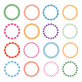 Embroidery stitches vector circle frames set Royalty Free Stock Images