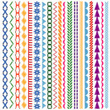 Embroidery stitches vector seamless patterns and borders set Stock Photos