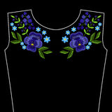 Embroidery stitches with violet flowers for neckline. Vector fas Stock Images