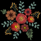 Embroidery stitches with wildflowers, spring flowers, grass, bra Royalty Free Stock Images