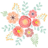 Embroidery stitches with wildflowers, spring flowers, grass, bra Stock Images