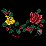 Embroidery style neckline pattern with simplify flowers. Royalty Free Stock Photography