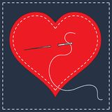 Embroidery stylization with stitches. A vector illustration of stitched heart, needle with thread. Background for Valentines day,. Marriage or betrothal Royalty Free Stock Photography