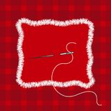 Embroidery stylization with stitches. A vector illustration of stitched tartan cloth piece and needle with thread. Stock Photos
