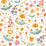 Embroidery summer meadow. Seamless ditsy floral pattern with beautiful embroidered flowers and leaves on white background. In folk style. Fashion print in royalty free illustration