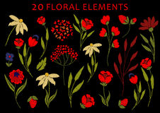 Embroidery on textiles. Chic, trendy, fashionable, bright floral composition of embroidered stylized flowers in bright red. Summer mood. Ideal for embroidery on vector illustration