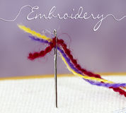 Embroidery Thread Through Needle Royalty Free Stock Photography