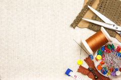 Embroidery. Tool on cloth as background Royalty Free Stock Images