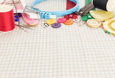 Embroidery tools on fabric as background Stock Photography