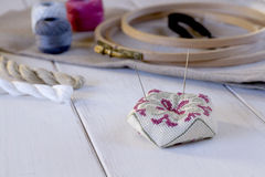 Embroidery tools with hoop and threads Royalty Free Stock Image