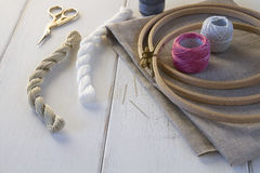 Embroidery tools with hoop and threads Stock Image