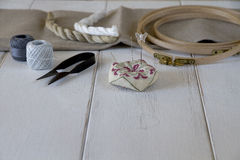 Embroidery tools with hoop and threads Royalty Free Stock Images