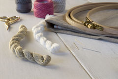 Embroidery tools with hoop and threads Royalty Free Stock Photos
