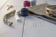 Embroidery tools with hoop and threads Stock Photography